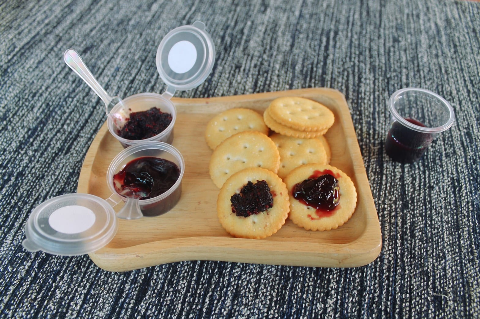 Crackers with Mulberry Jam and Mulberry sauce picture